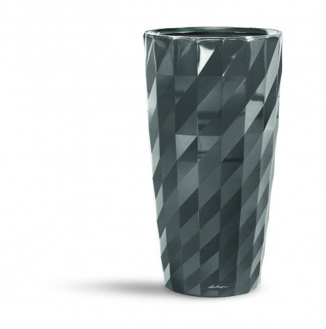 Lechuza Diamante High Gloss Charcoal Self Watering Planter