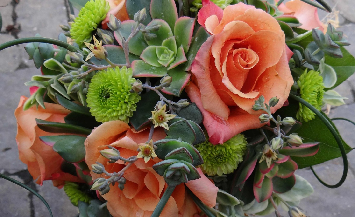 Textured Wedding Bouquet Succulents