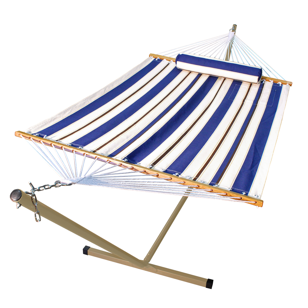 Fabric Hammock with Matching Pillow on Steel Stand