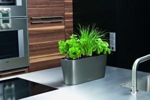 Lechuza Delta 20 Charcoal Metallic Self Watering Table Planter