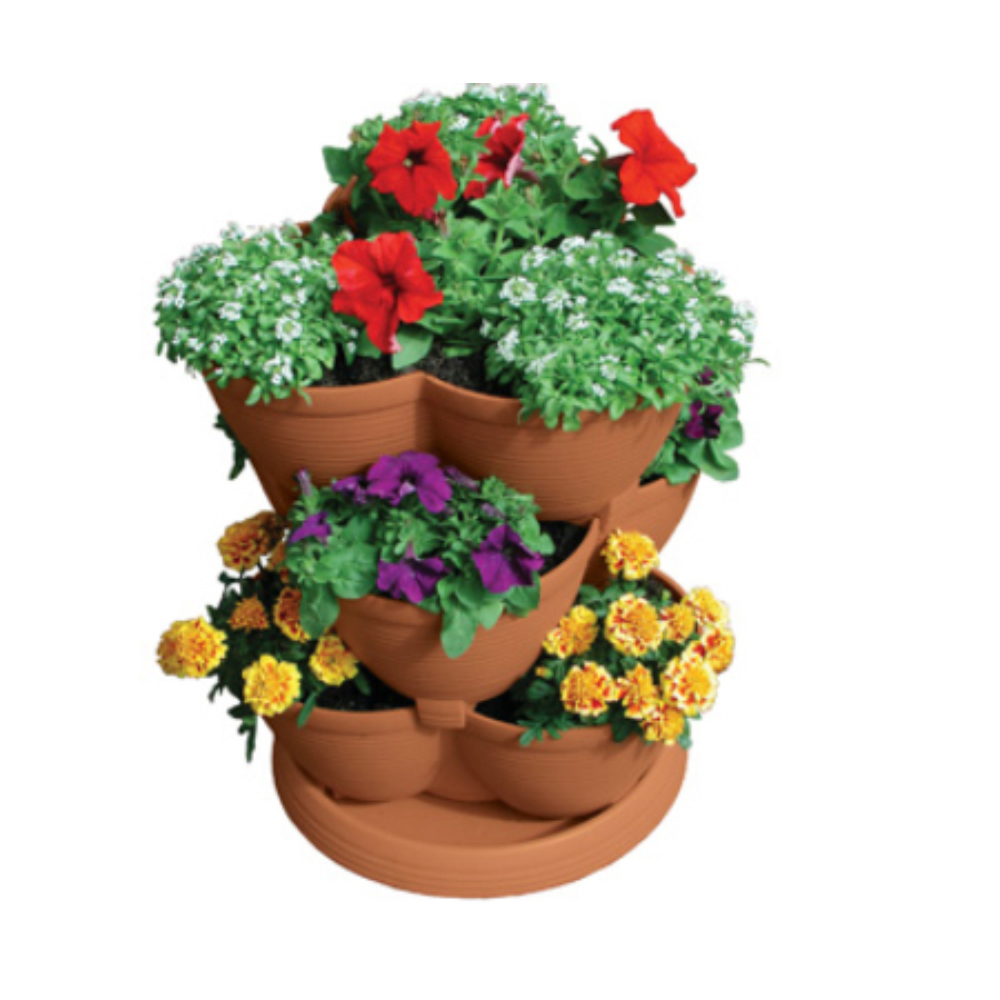 Stack-A-Pot Medium Clay 3tier Stackable Planter